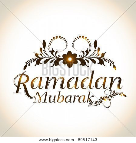 Shiny floral design decorated text Ramadan Mubarak for Muslim community festival celebration, can be used as poster, banner or flyer.
