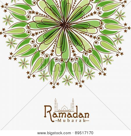 Floral design decorated greeting card for Islamic holy month of prayer, Ramadan Kareem celebration.