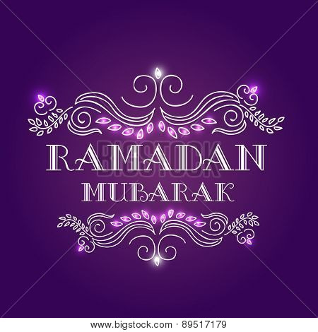 Elegant grreting or invitation card with floral design decorated stylish text Ramadan Mubarak on shiny purple background.