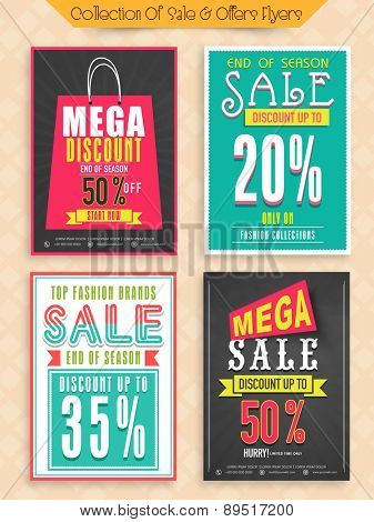 Top Fashion Brand Sale with mega discount offer, Collection of Posters, Banners or Flyers design.