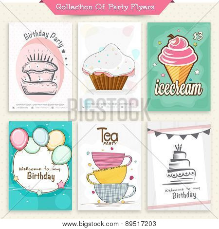 Set of six Flyers or Invitation Cards for Party celebration.
