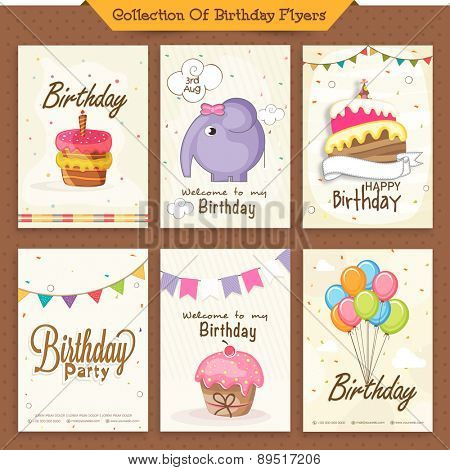 Set of six Brirthday Invitation Cards decorated with sweet cake, colorful balloons and cartoon elephant.