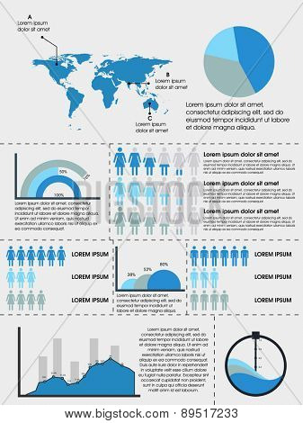 Human infographics elements set with world map and different graphss on grey background.