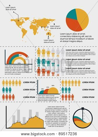Creative human infographics layout with world map and graphs for data presentation.