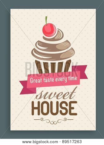 Flyer, brochure and menu card design for sweet house with cupcake design.