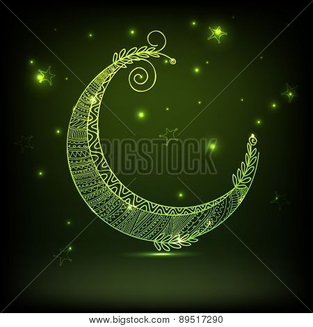 Floral decorated green crescent moon on shiny stars decorated background for muslim community festival, Eid Mubarak celebration.