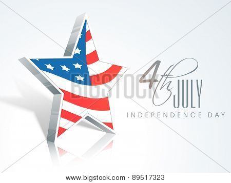 Stylish star in American national flag color for 4th of July, Independence Day celebrations.