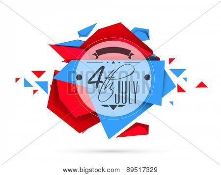 Creative sticky with text 4th of July in national flag color on abstract background for American Independence Day celebration.