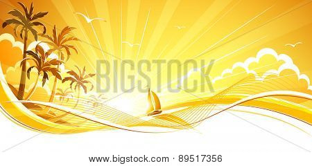 Sunny background with palm trees and sailboat. Vector background