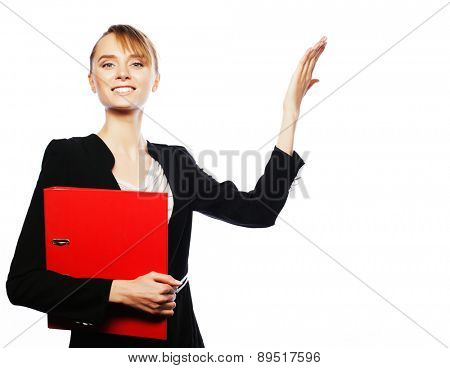 Business, finance and people concept: young business woman show fingers. Studio shot isolated on white.