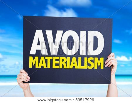 Avoid Materialism card with beach background