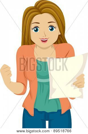 Illustration of a Girl Happy with the Results on her Paper