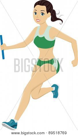 Illustration of a Girl Running in a Relay Race