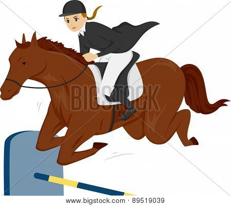 Illustration of a Teen Girl on a Horse jumping over a Vertical Fence