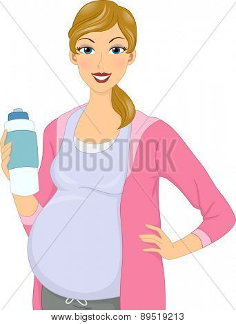 Illustration of a Pregnant Girl holding water bottle