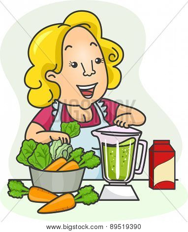 Illustration of a Girl blending Vegetables for her Green Smoothies