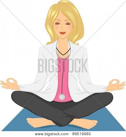 Illustration of a Girl Doctor in a comfortable Sitting Yoga Pose