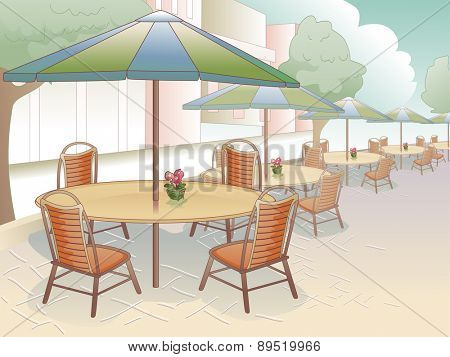 Illustration of a Restaurant That Offers Al Fresco Dining