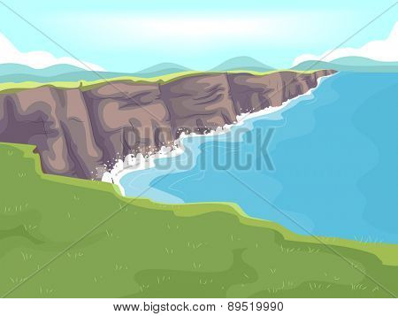 Illustration of a Long Stretch of Limestone Cliff by the Sea