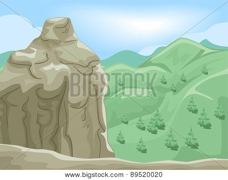 Scenic Illustration of the View Seen from the Summit of a Mountai