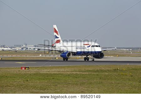 Frankfurt Airport - Airbus A319 Of British Airways Takes Off