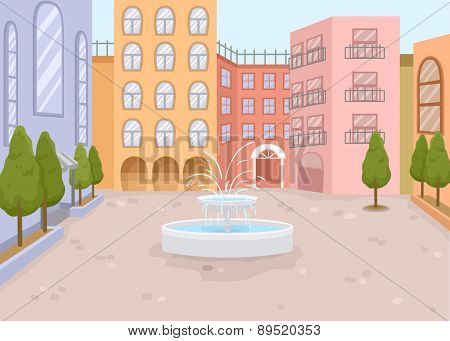 Illustration of a Courtyard with a Mini Fountain in the Middle