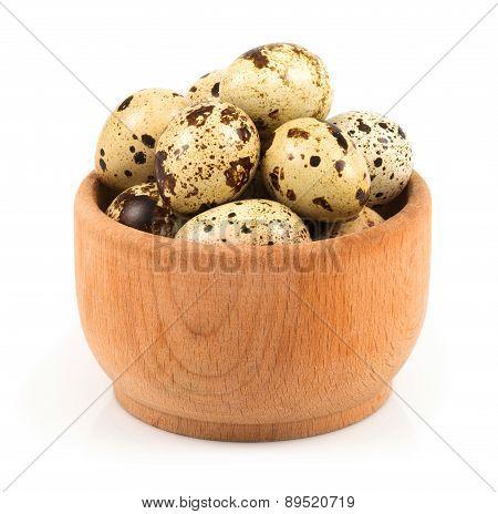 Quail Eggs In A Wooden Bowl