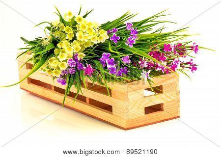 Flowers In Wooden Basket