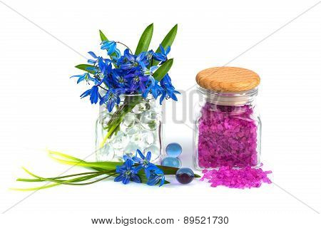 Bouquet Of Spring Flower With Lavender Aroma Salt