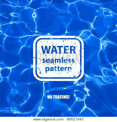 Blue water seamless pattern background.  Vector not tracing illustration