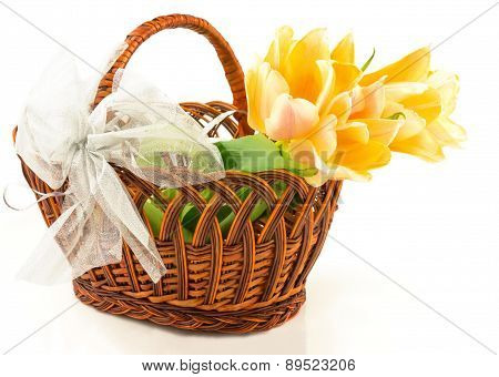 Tulips In Basket With Bow