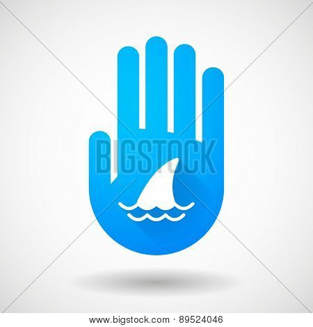 Blue Hand Icon With A Shark Fin