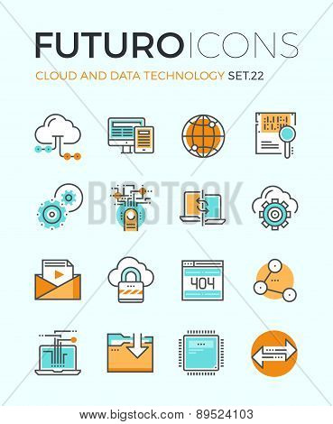 Cloud Technology Futuro Line Icons