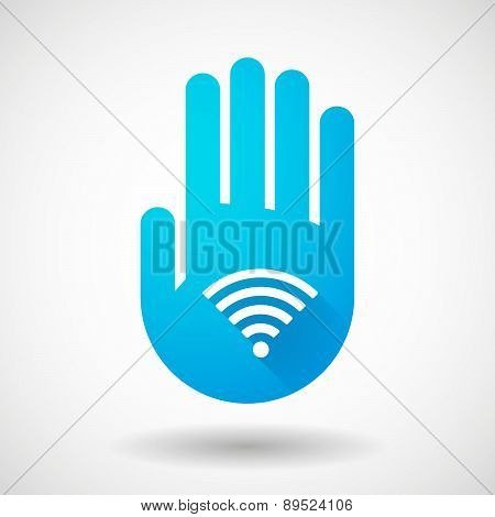 Blue Hand Icon With A Radio Signal Sign