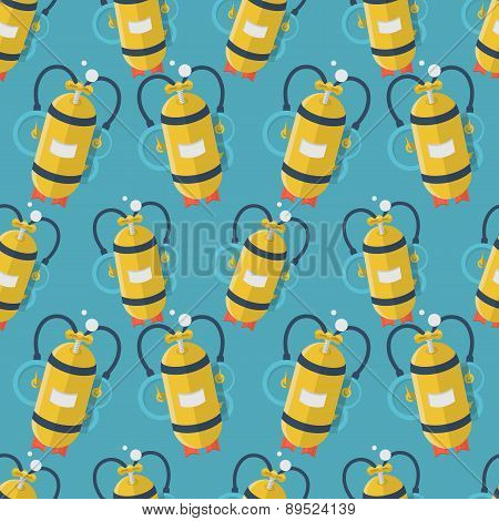Yellow aqualung flat color vector background
