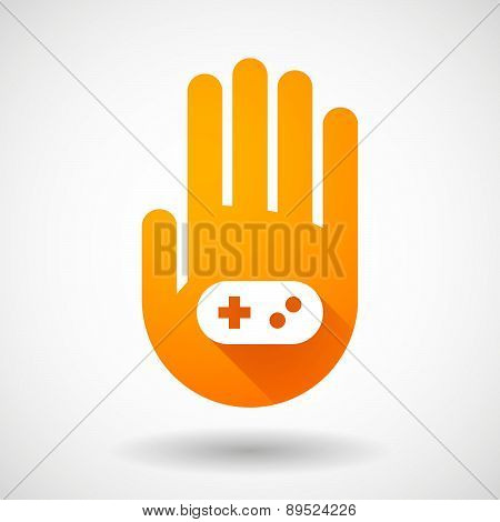 Orange Hand Icon With A Game Pad