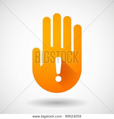 Orange Hand Icon With An Exclamation Sign
