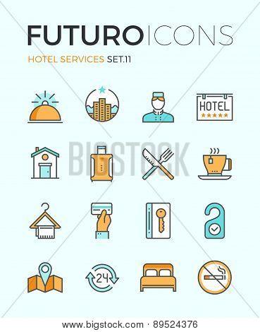Hotel Services Futuro Line Icons