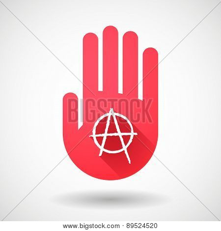 Red Hand Icon With An Anarchy Sign