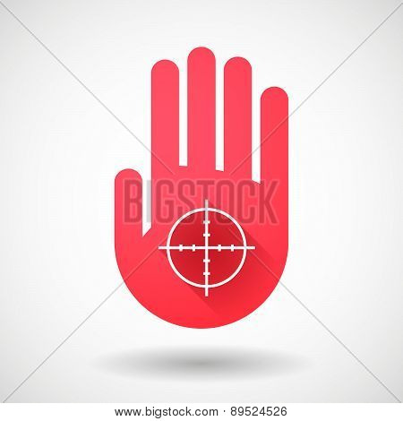 Red Hand Icon With A Crosshair
