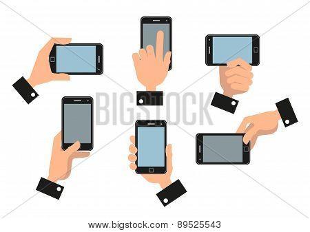 Human Hand Holding Mobile Smart Phone