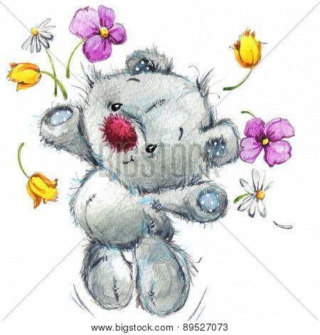 Toy Teddy bear and flowers.