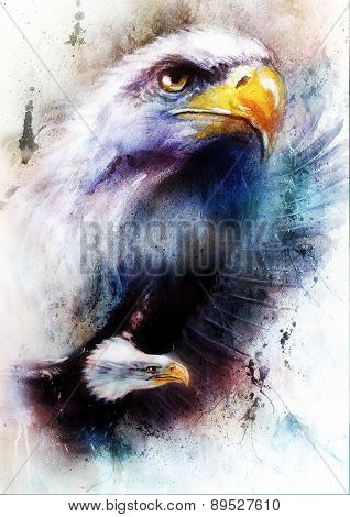 Painting Of Two Eagles On An Abstract Color Background