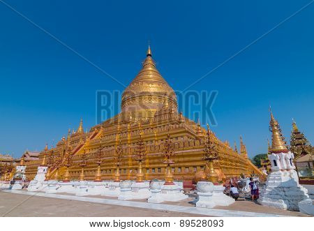 BAGAN, MYANMAR - MARCH 23, 2015: Shwezigon Pagoda