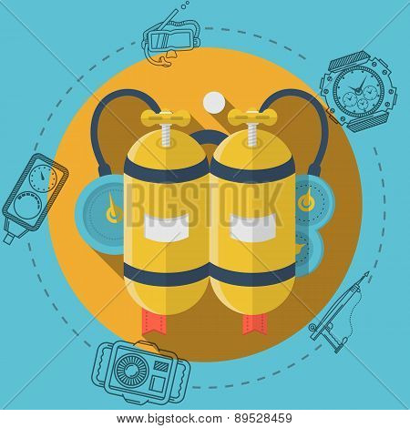 Yellow aqualung flat color vector illustration
