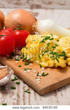 Vertical Photo Of Scrambled Eggs Mixed With Chive