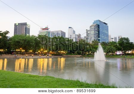 Benjasiri Park With Many Modern Condominiums And Business Building