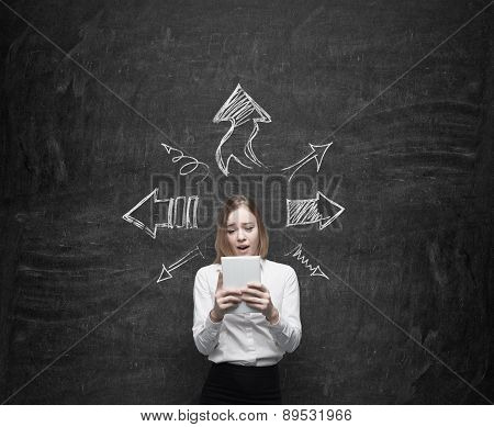 Young Business Lady Is Looking At The Tablet. Arrows Are Symbolised Different Ideas. Chalk Wall Back