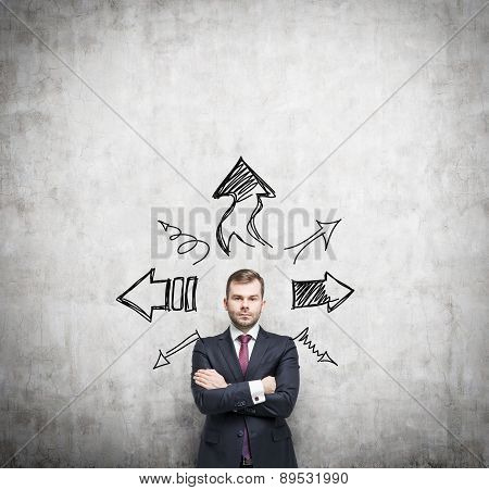 Businessman Is Standing Surrounded By Arrows In Different Direction. A Concept Of Decision Making Pr