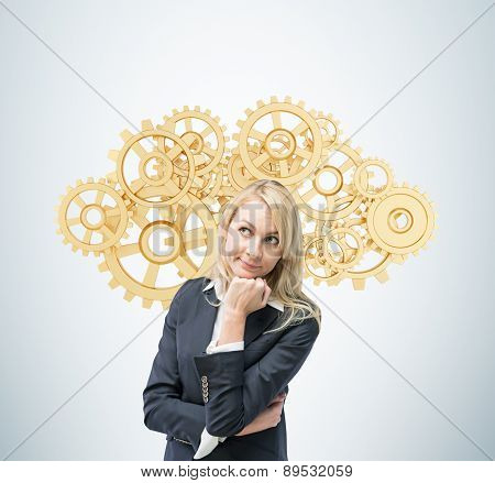 Beautiful Blonde Business Woman Is Thinking About Optimisation Of The Business Process. A Concept Of